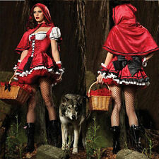 Sexy Little Red Riding Hood Adult Womens Fancy Cosplay Dress Carnival Costumes