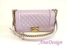 bc8571bfec58a5 Chanel Le Boy Lilac Purple Calfskin Medium Bag GHW w/Authenticity  Certificate