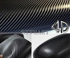 "4D 24""x60"" Black Carbon Fiber Vinyl Film Wrap Auto Sticker Bubble Free Glossy"