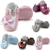 Toddler Baby Girl Bowknot Soft Princess Crib Shoes Sneakers Leather Prewalker UK
