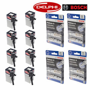 Set of 8 Delphi Ignition Coils and Bosch 4305 Spark Plugs for Ford Motor Co