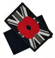 Black Union Jack Poppy Embroidered Sew on velcr0 patch