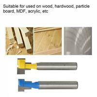 """2x 1/4"""" Shank Keyhole T-Slot Woodwork Router & Bit For Wood 1/2"""" 3/8 H2H2"""