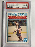 1982 O-Pee-Chee OPC Dale Hawerchuk In Action #381 PSA 8 NHL Card Winnipeg Jets