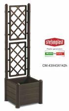 Stefanplast 80037 Fioriera Quadra con Spalliera cm 43x43x142 Marrone