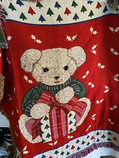 Blanket, Vintage Baby BearChristmas Fringed Blanket New About 4 Ft By 4 1/2 Ft