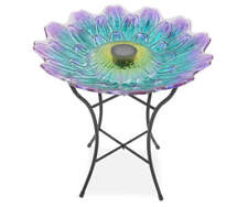 Purple & Blue Flower Glass Solar Birdbath