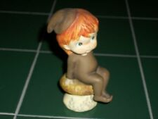 Little Folks Pixie Elf Sitting on Toadstool Pottery Figurine Brown Suit Red Hair