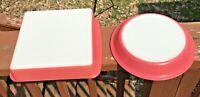 "Vintage 2 Pyrex Flamingo Pink #222 8-Inch Square Casserole Dish, 8 1/2"" Pie"