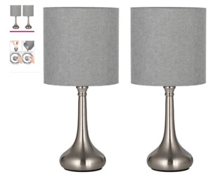 Silver Table Lamps - Small Nightstand Set of 2 Gray Shades new