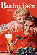 BUDWEISER BEER VINTAGE REPRODUCTION ..A4 POSTER