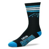 Carolina Panthers For Bare Feet Men's NFL 4-Stripe Deuce Crew Socks SZ M