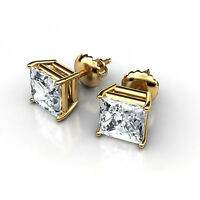 2 ct Princess Cut Solitaire Stud Earrings 14k Real Yellow Gold Screw Back