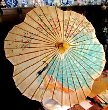 "Bamboo Parasol hand painted Peacock on paper. About 37"" across and 27"" Handle"