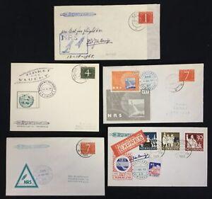 NETHERLANDS 1960/65 ca. - 5 x CV =ROCKET MAIL= LABELS / SIGNED -VF @3