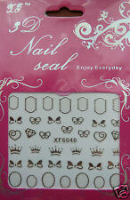 3d nail art stickers, bows,crowns,frames in   SILVER
