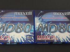 Maxell 2 Blank MiniDisc MD80 Extra Long Play Recording NIP
