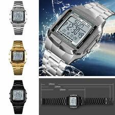 Reloj De Pulsera SKMEI Impermeable Para hombres Reloj Deportivo LED Digital Alarma De Acero Inoxidable