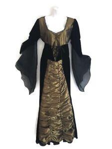 Velvet Corset Waist  Costume Dress Womens Medieval Gothic Black Witch Maje Gold