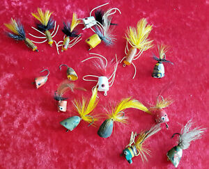 16 Vintage Popper/Bug Flies-Single Hook-Various Styles