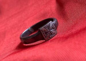 1. Weltkrieg Patriotischer Ring aus Eisen Schmuck  Eisernes Kreuz große Größe