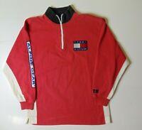 VTG 90s Tommy Hilfiger Men Alpine Gear 1/4 Zip Pullover Sweatshirt Big Flag Logo