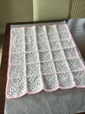 Hand Made Crochet Patchwork Baby Blanket Pink & White Multi (A)