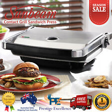 Sunbeam Sandwich Press Maker Non Stick Contact Grill BBQ Toaster Stainless Steel