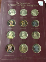 Franklin mint 1970 71 Gallery of Great Americans Bronze Medals proof set Book