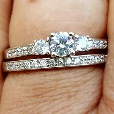 .925 Sterling Silver Wedding Set CZ Engagement Ring Ladies Bridal Size 11 New 01