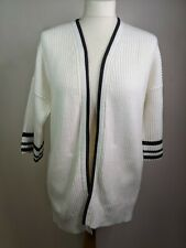 Lands End Drifter chunky knit cardigan edge to edge Size S Petite white & blue