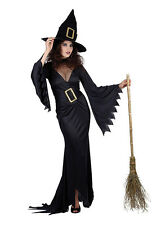 Ladies Long Black Witch Costume Halloween Fancy Dress Outfit & Hat 12-14 NEW
