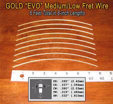 6 feet of Medium/Low Premium Jescar Gold EVO Fret Wire/Frets 10-07-02