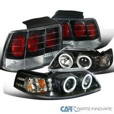 Ford 99-04 Mustang Black LED Halo Projector Headlights+Tail Brake Parking Lamps