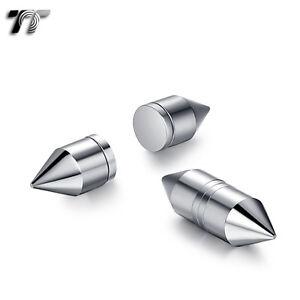 TT Silver Stainless Steel Bullet Magnet Fake Ear Plug Earrings (BM15S) NEW