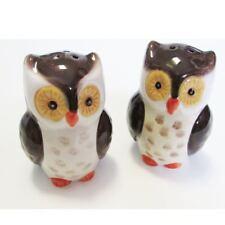 Salt and Pepper Shaker Set Owl Owls Ceramic Woodland