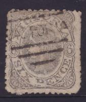 """VICTORIA 1863 6d Grey QV EMBLEM WMK """"6"""" SG 107 USED  (LB105.6)"""