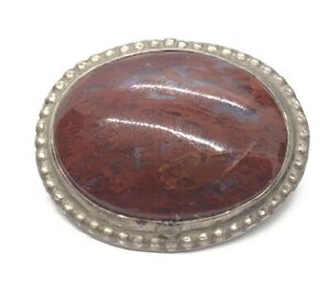 Vintage Sterling Silver Brooch Pin 925 Red Stone Jasper Large