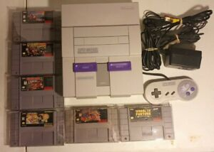 Super Nintendo SNES Console 1 controller cables 6 game Donkey Kong trilogy Mario