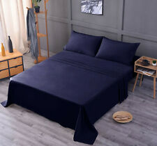 Luxury Bamboo Sheet Set Soft Hypoallergenic Navy Blue King Deep Pocket 4 Pc Set