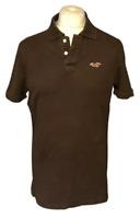 Hollister Men's Polo T Shirt Brown Medium Short Sleeve 100% Cotton Faded