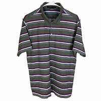 Tiger Woods Nike Polo Golf Shirt Medium Gray Blue White Purple Striped Dri-Fit
