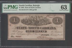 1863 Confederate North Carolina $1 Dollar Note CR133 Graded PMG 63 Choice UNC