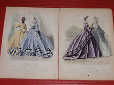 ANTIQUE FRENCH FASHION PRINTS LES MODES PARISIENNES A. PORTIER 1856 7 3/4 X 10.5