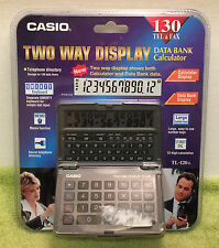 Vintage Casio TL-120 Two Way Display Data Bank Calculator 130 Tel & Fax NEW NOS