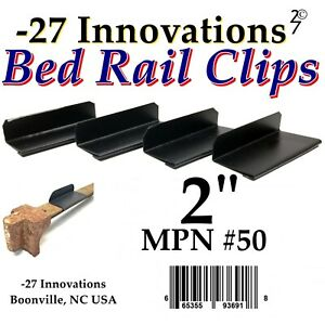 4 CLIP Set Antique Flat Top Rail Brass Bed-Box Spring/Mattress Stabilizer KIT