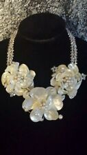 Flower Statement Necklace Feminine Huge Bridal Formal Shell Pearl Crystal