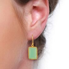 Exclusive Aqua Chalcedony Drop Awesome 925 Sterling Silver Earrings Jewelry