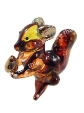 TINY CRYSTAL squirrel HAND BLOWN CLEAR GLASS ART FIGURINE ANIMAL COLLECTION