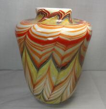 "Vintage Drew Smith 79 Studio Art Glass Pulled Feather Vase 8 1/2""Tall/6 1/2""Diam"